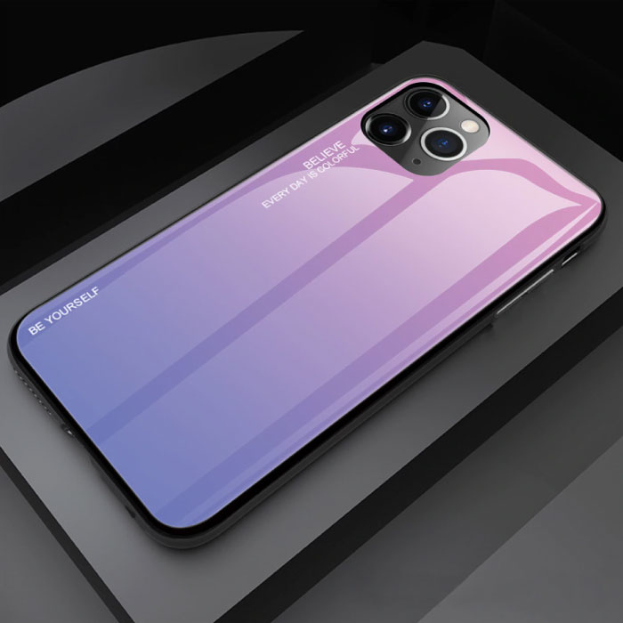 iPhone 12 Hoesje Gradient - TPU en 9H Glas - Shockproof Glossy Case Cover Cas TPU Roze