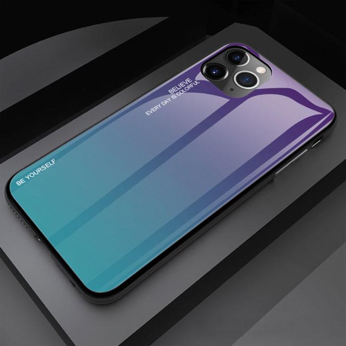iPhone 12 Case Gradient - TPU und 9H Glas - Stoßfeste, glänzende Hülle Cas TPU Blue
