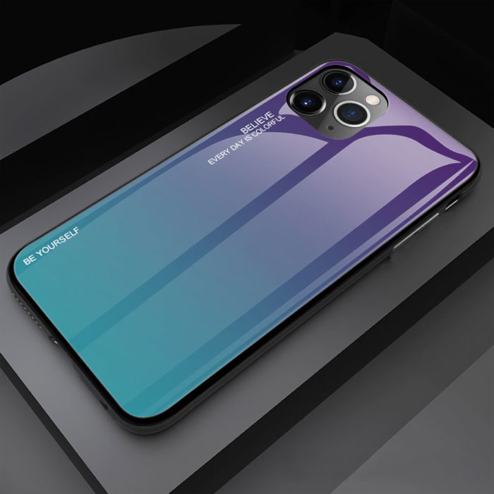 iPhone 11 Pro Max Case Gradient - TPU and 9H Glass - Shockproof Glossy Case Cover Cas TPU Blue