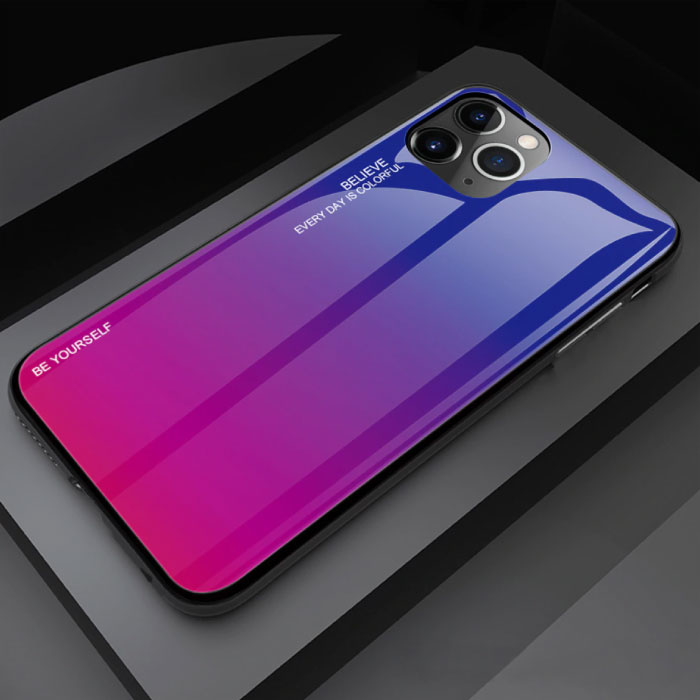 iPhone 12 Pro Hoesje Gradient - TPU en 9H Glas - Shockproof Glossy Case Cover Cas TPU Roze