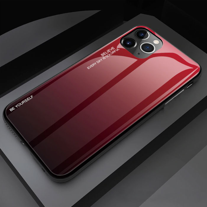 iPhone 11 Pro Max Hoesje Gradient - TPU en 9H Glas - Shockproof Glossy Case Cover Cas TPU Rood