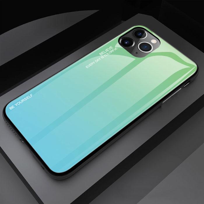 iPhone 12 Hoesje Gradient - TPU en 9H Glas - Shockproof Glossy Case Cover Cas TPU Groen