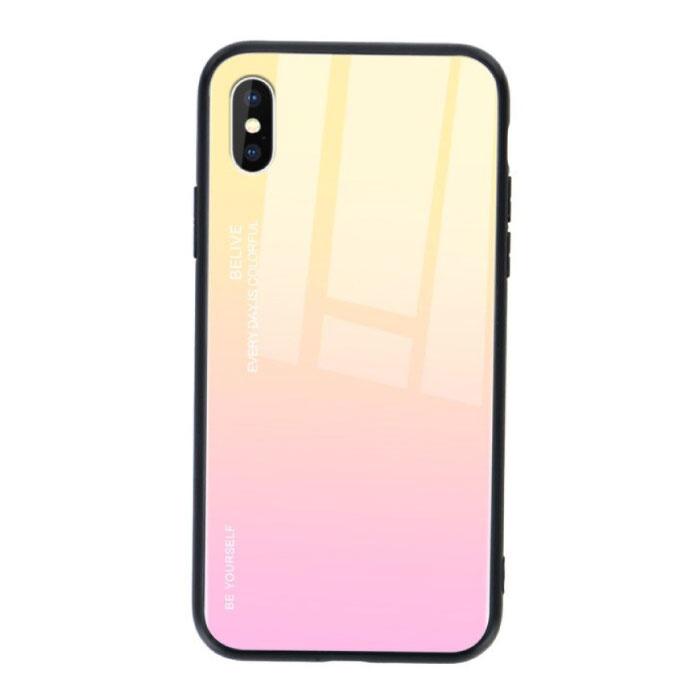 iPhone 8 Plus Hoesje Gradient - TPU en 9H Glas - Shockproof Glossy Case Cover Cas TPU Geel