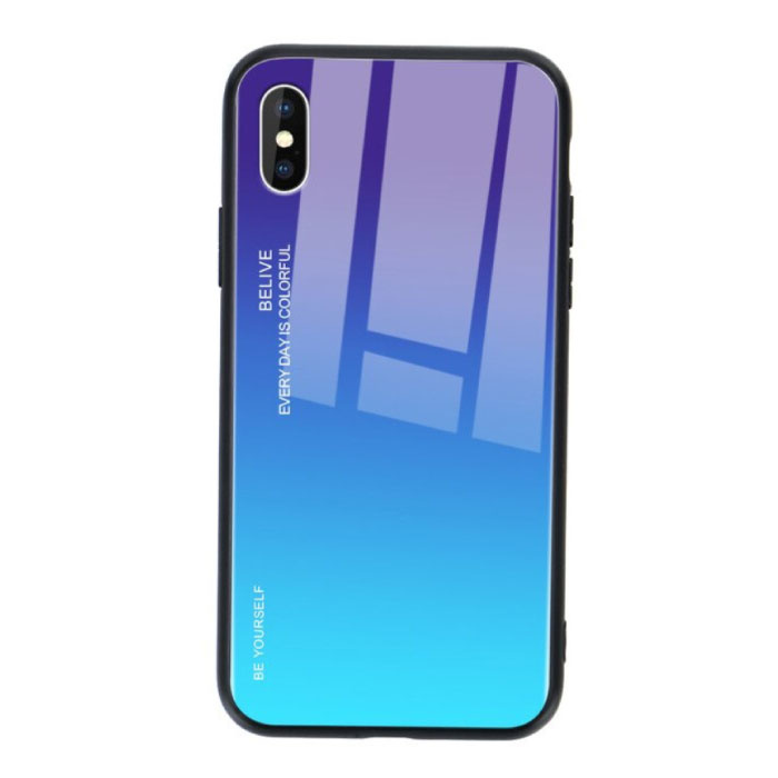 iPhone 8 Plus Hoesje Gradient - TPU en 9H Glas - Shockproof Glossy Case Cover Cas TPU Blauw