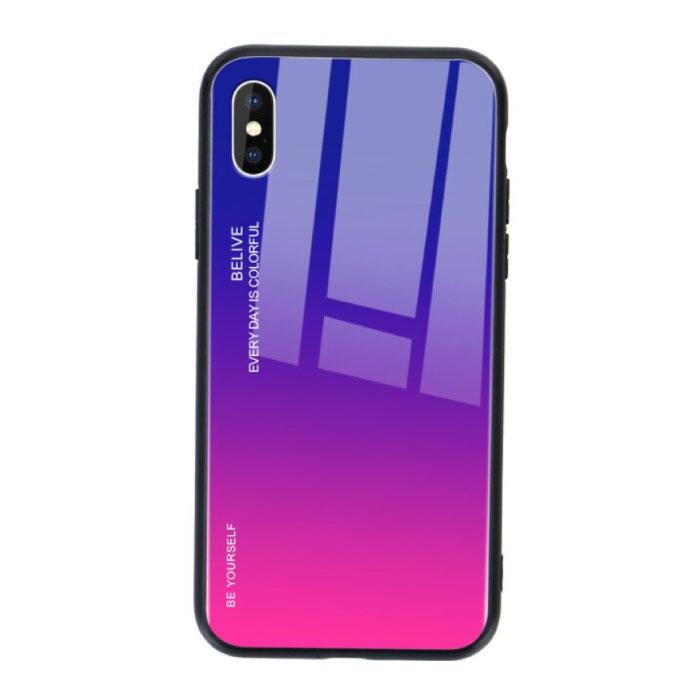 iPhone 8 Plus Hoesje Gradient - TPU en 9H Glas - Shockproof Glossy Case Cover Cas TPU Paars