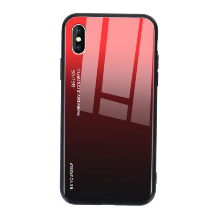 iPhone 7 Plus Hoesje Gradient - TPU en 9H Glas - Shockproof Glossy Case Cover Cas TPU Rood