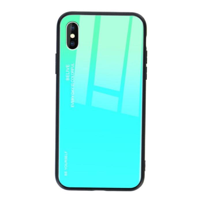 iPhone 7 Hoesje Gradient - TPU en 9H Glas - Shockproof Glossy Case Cover Cas TPU Groen