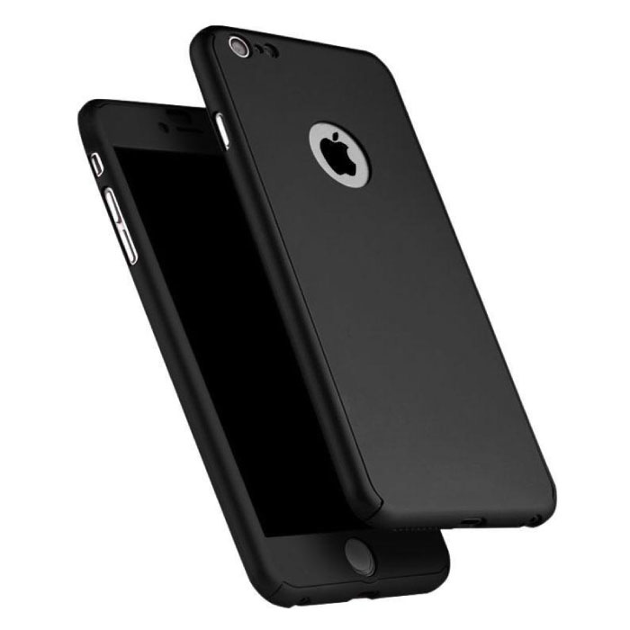 iPhone 6 360°  Full Cover - Full Body Case Hoesje + Screenprotector Zwart