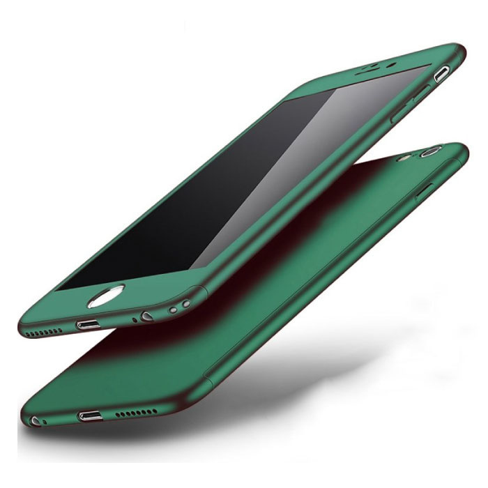 iPhone 7 360 ° Full Cover - Full Body Case Case + Screen protector Green