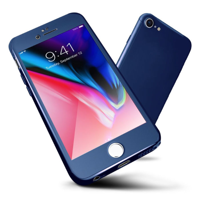 iPhone 7 Plus 360 ° Full Cover - Full Body Case Case + Screen protector Blue