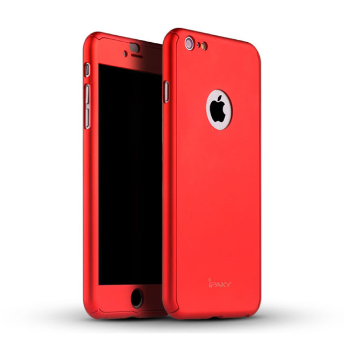iPhone 8 Plus 360 ° Full Cover - Full Body Case Case + Screen protector Red