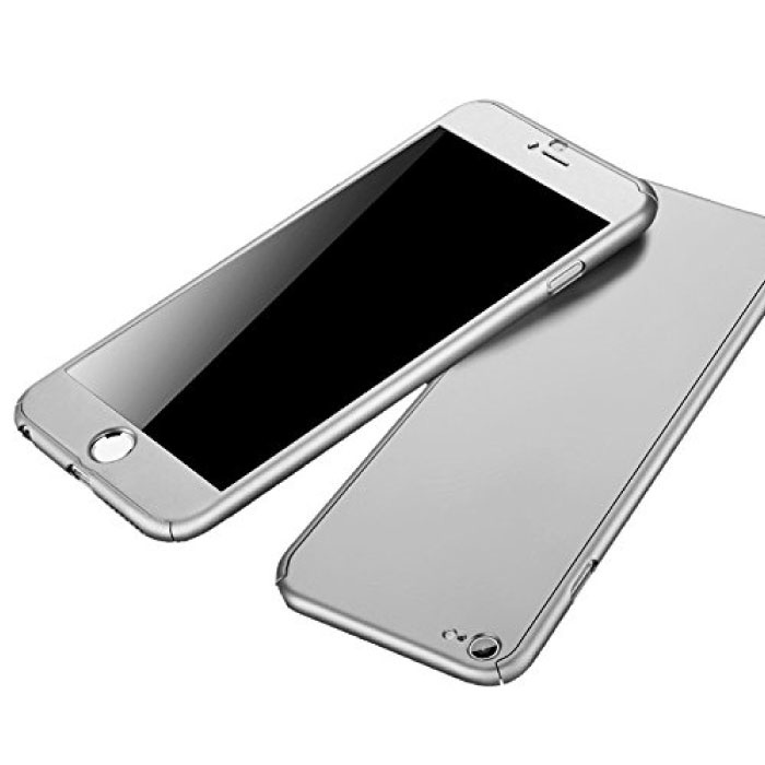 iPhone 6S Plus 360 ° Vollabdeckung - Ganzkörperhülle + Displayschutzfolie Weiß