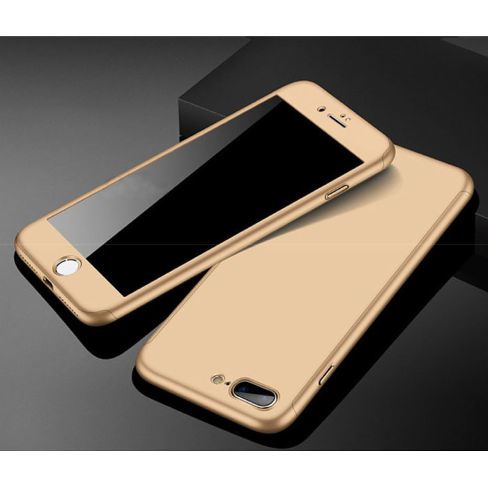 iPhone 8 Plus 360°  Full Cover - Full Body Case Hoesje + Screenprotector Goud