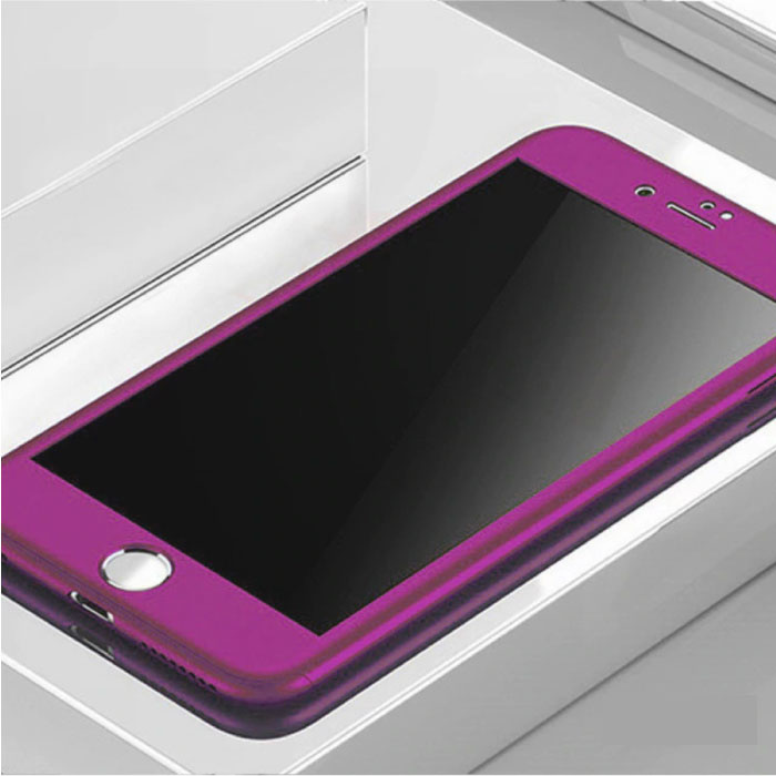 iPhone 12 360°  Full Cover - Full Body Case Hoesje + Screenprotector Paars