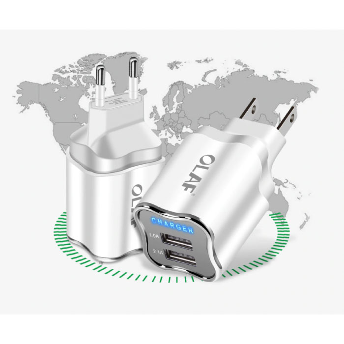 OLAF Dual 2x Port USB Stekkerlader - 2.1A Muur Oplader Wallcharger AC Thuislader Adapter Wit