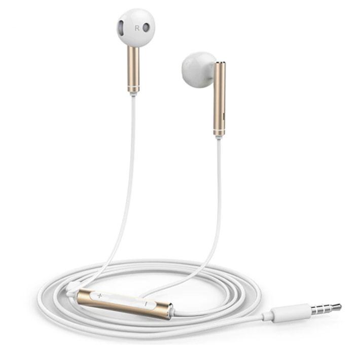 Honor AM116 Oortjes met Microfoon en Controls - 3.5mm AUX Oordopjes Wired Earphones Oortelefoon Goud