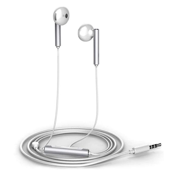 Honor AM116 Oortjes met Microfoon en Controls - 3.5mm AUX Oordopjes Wired Earphones Oortelefoon Zilver
