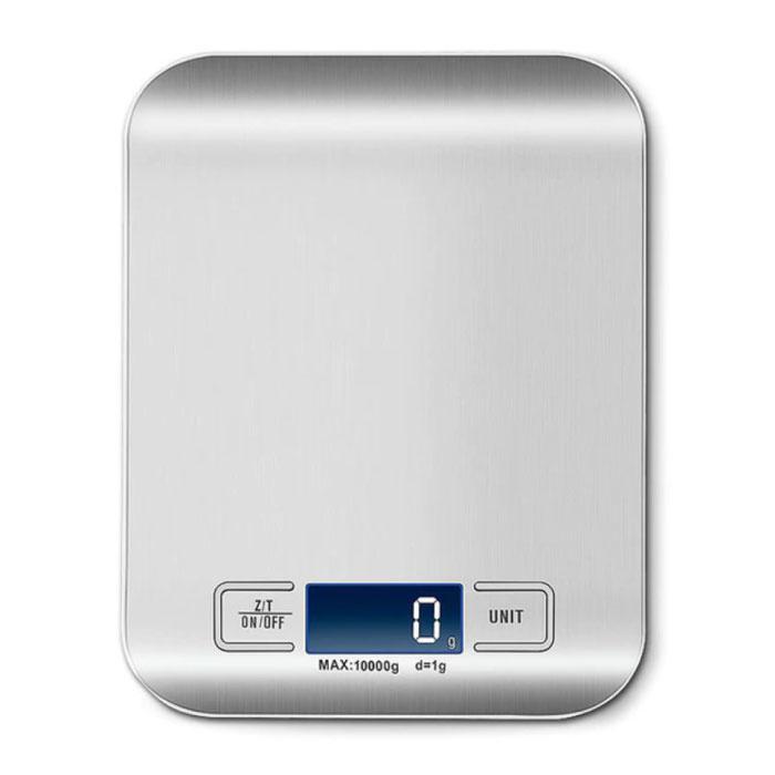 Keukenweegschaal Digitaal - 10kg / 1g - Precisie Digitale Weegschaal Keuken Zilver