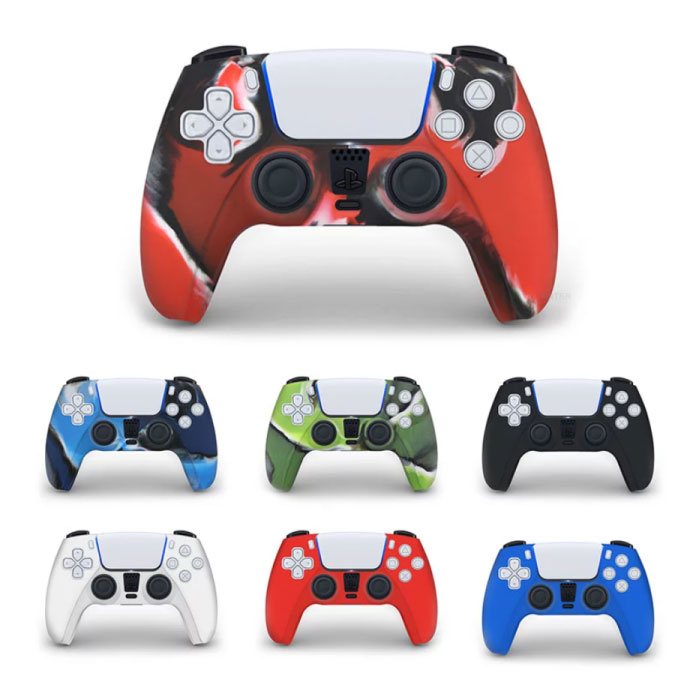 Stuff Certified® Antislip Hoes / Skin voor PlayStation 5 Controller Case - Grip Cover PS5 - Camo Blauw