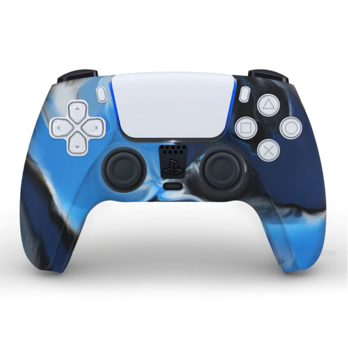 Antislip Hoes / Skin voor PlayStation 5 Controller Case - Grip Cover PS5 - Camo Blauw