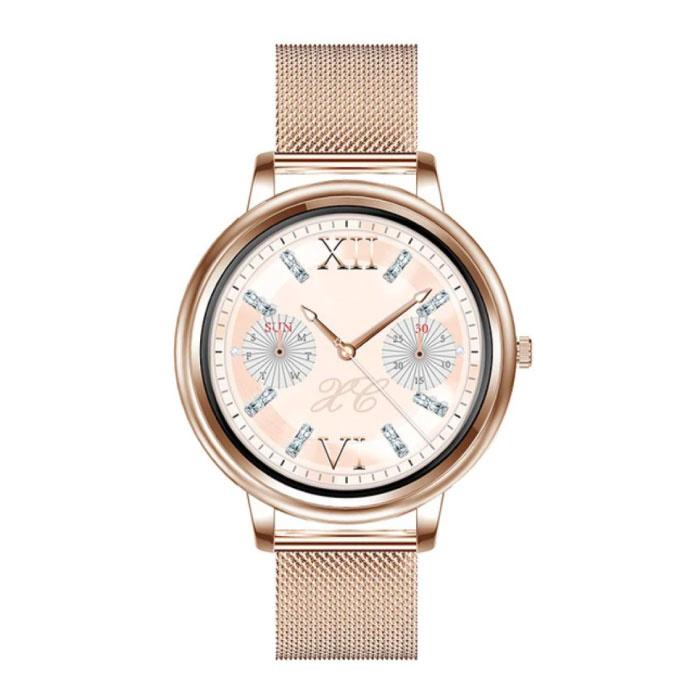 Fashion Smartwatch voor Vrouwen - Fitness Sport Activity Tracker Smartphone Horloge iOS Android - Goud Staal