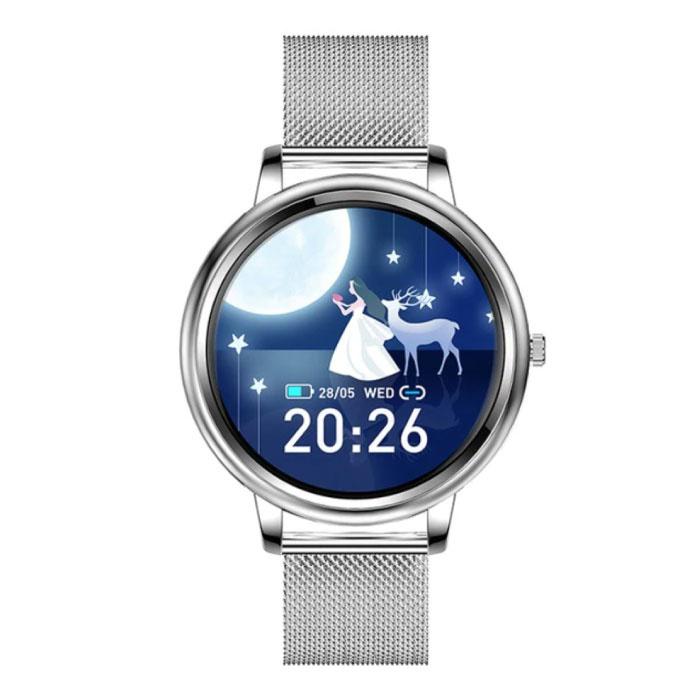 Mode Smartwatch für Frauen - Fitness Sport Activity Tracker Smartphone Uhr iOS Android - Silver Steel