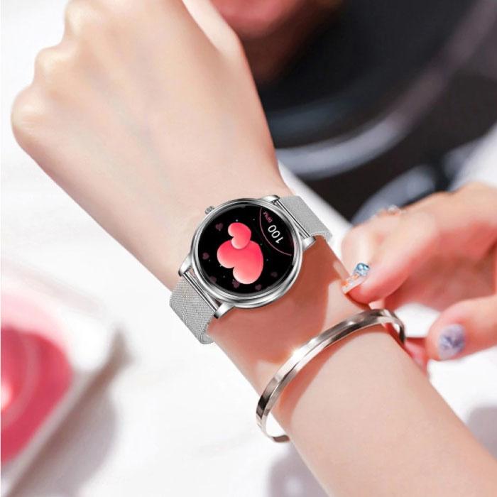 Proker Fashion Smartwatch voor Vrouwen - Fitness Sport Activity Tracker Smartphone Horloge iOS Android - Zilver Staal