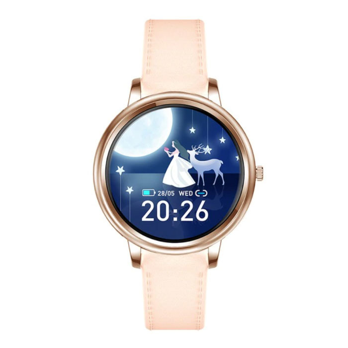 Fashion Smartwatch voor Vrouwen - Fitness Sport Activity Tracker Smartphone Horloge iOS Android - Goud