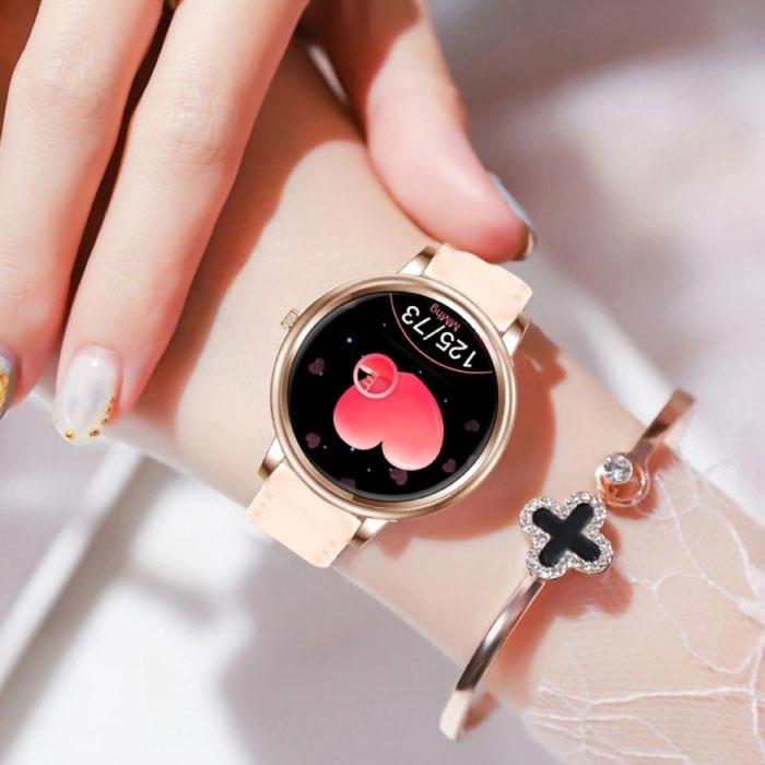 Proker Fashion Smartwatch voor Vrouwen - Fitness Sport Activity Tracker Smartphone Horloge iOS Android - Goud