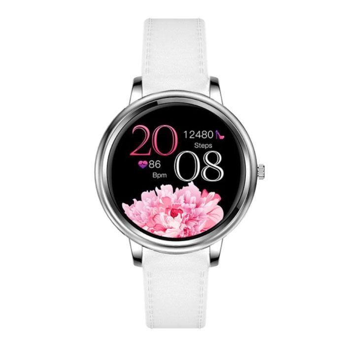 Mode Smartwatch für Frauen - Fitness Sport Activity Tracker Smartphone Uhr iOS Android - Silber