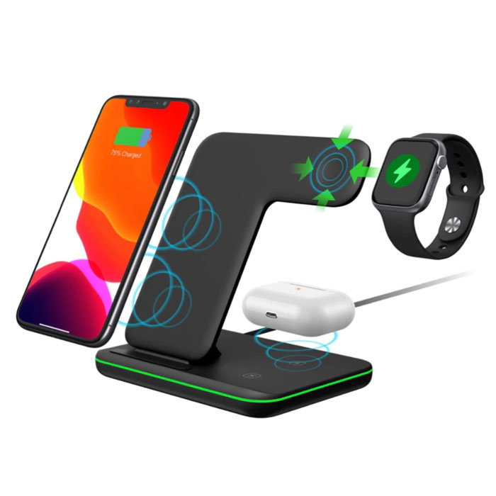 DCAE 3 in 1 Oplaadstation voor Apple iPhone / iWatch / AirPods -  Charging Dock 15W Wireless Pad Wit