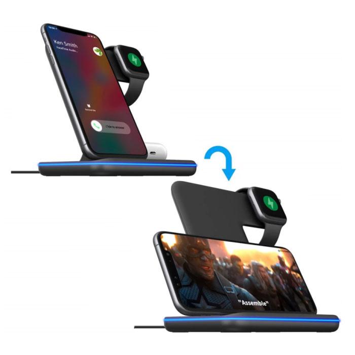 DCAE 3 in 1 Oplaadstation voor Apple iPhone / iWatch / AirPods -  Charging Dock 15W Wireless Pad Zwart