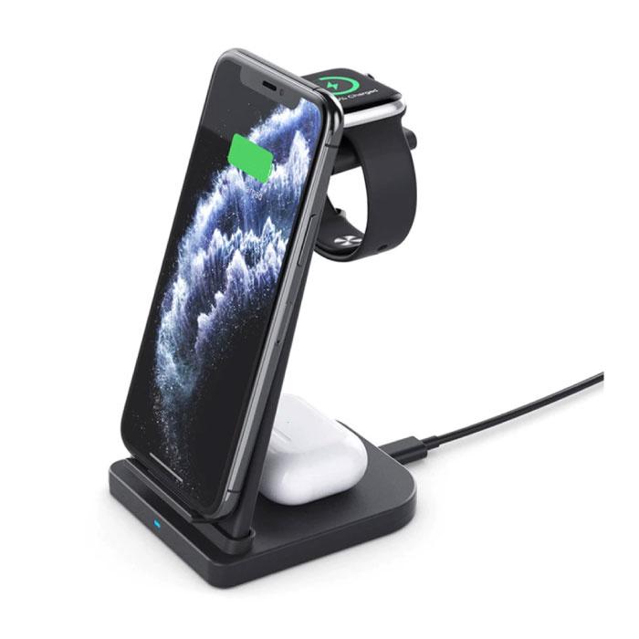 Station de charge pliable 3 en 1 pour Apple iPhone / iWatch / AirPods - Station de charge sans fil 10W Pad noir
