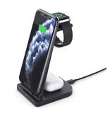 Linghuang 3 in 1 Opvouwbaar Oplaadstation voor Apple iPhone / iWatch / AirPods -  Charging Dock 10W Wireless Pad Wit