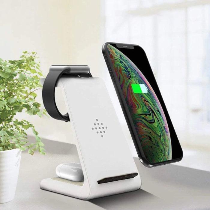 3 in 1 Ladestation für Apple iPhone / iWatch / AirPods - Ladestation 18W Wireless Pad Weiß