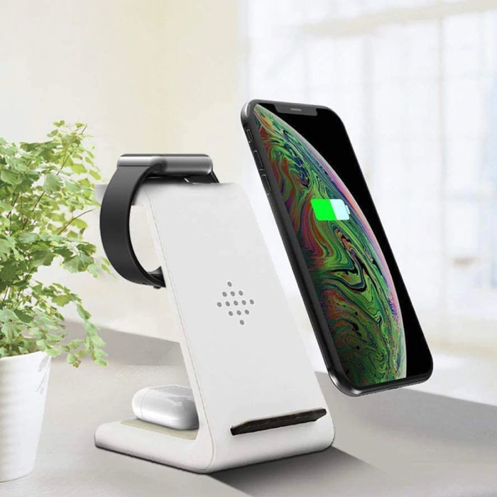 3 in 1 Oplaadstation voor Apple iPhone / iWatch / AirPods -  Charging Dock 18W Wireless Pad Wit