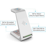 Bonola 3 in 1 Oplaadstation voor Apple iPhone / iWatch / AirPods -  Charging Dock 18W Wireless Pad Wit