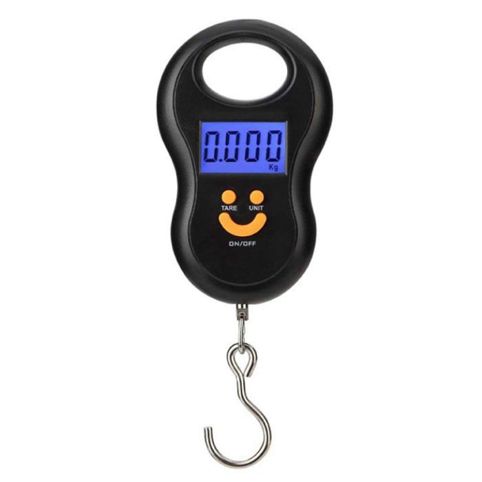 Hangweegschaal Digitaal met Haak - 50kg / 10g - Baggage Weegschaal Koffer Tas Zak Zwart