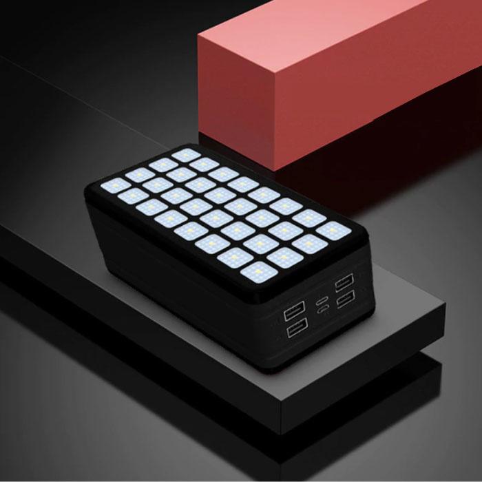 Powerbank 99000mAh avec 4 ports - Lampe de poche intégrée - Chargeur de batterie externe de secours noir