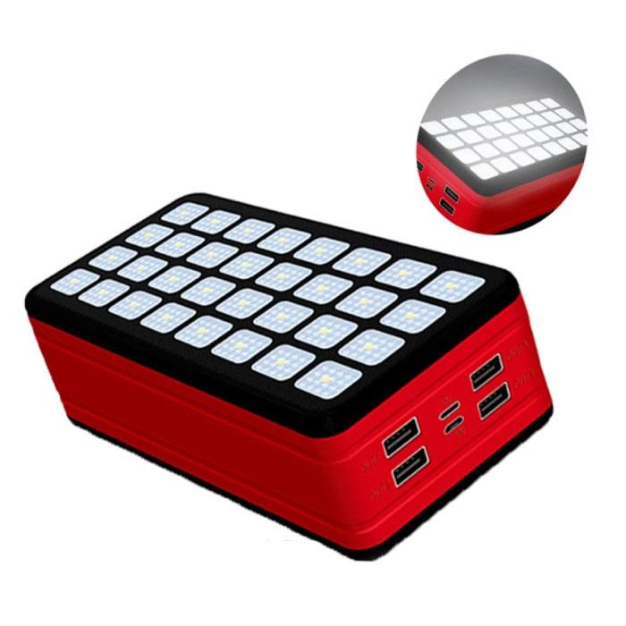 Powerbank 99000mAh avec 4 ports - Lampe de poche intégrée - Chargeur de batterie externe de secours rouge