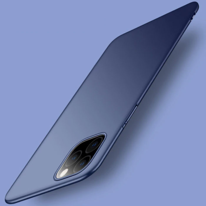 iPhone 11 Pro Max Ultra Dun Hoesje - Hard Matte Case Cover Donkerblauw