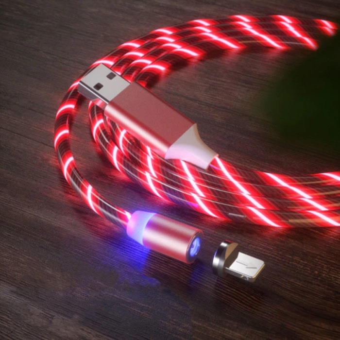 USB 2.0 - iPhone Lightning Magnetische Oplaadkabel 1 Meter Gevlochten Nylon Oplader Data Kabel Data Rood