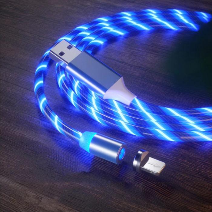 USB 2.0 - iPhone Lightning Magnetische Oplaadkabel 1 Meter Gevlochten Nylon Oplader Data Kabel Data Blauw