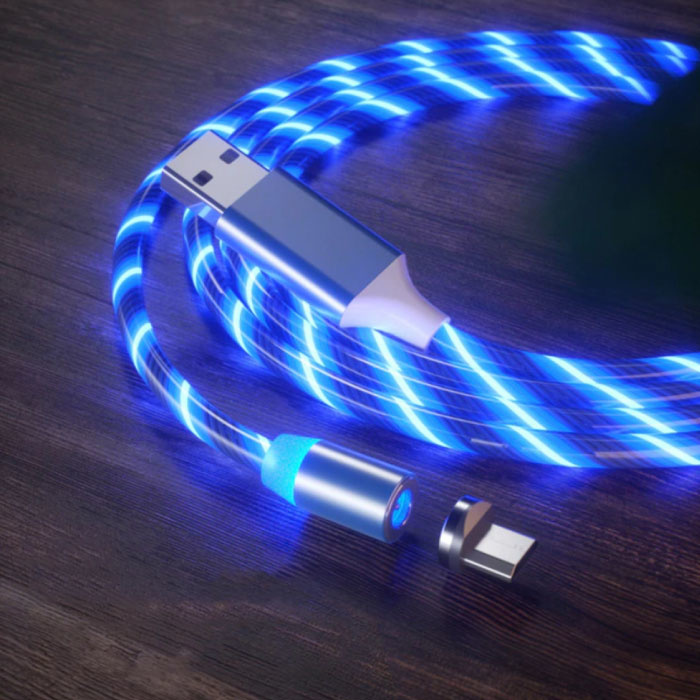 USB 2.0 - Micro-USB Magnetic Charging Cable 1 Meter Braided Nylon Charger Data Cable Data Blue