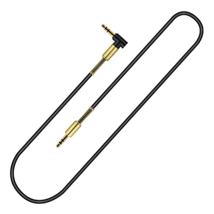 Câble AUX 3,5 mm plaqué or - Prise audio - 1,8 mètre - Noir