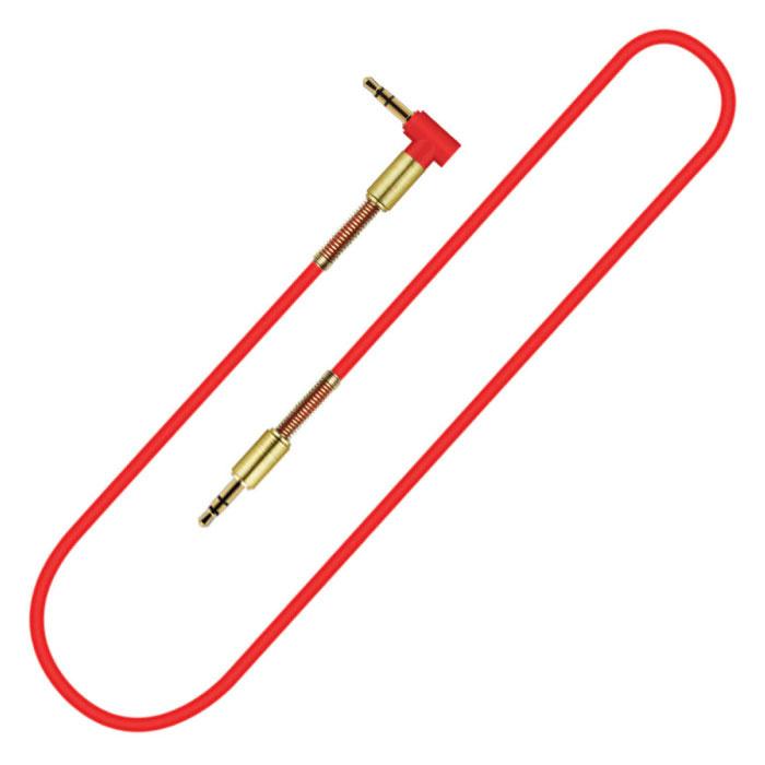 Câble AUX 3,5 mm plaqué or - Prise audio - 1,8 mètre - Rouge