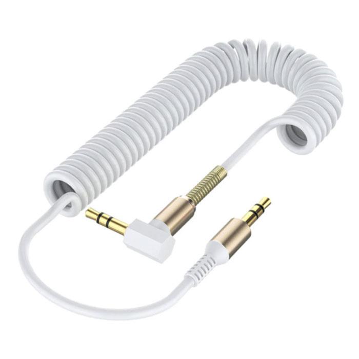 Câble AUX enroulé 3,5 mm plaqué or - Prise audio - 1,8 mètre - Blanc