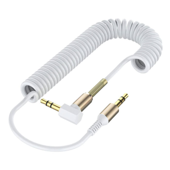 Curled 3.5mm AUX Cable Gold Plated - Audio Jack - 1.8 Meter - White