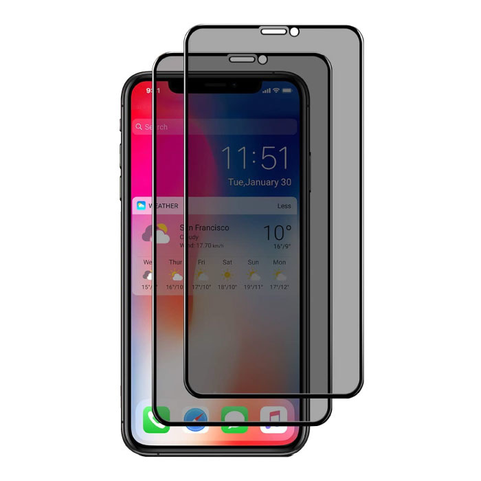 2-Pack iPhone X Privacy Screen Protector Full Cover - Tempered Glass Film Gehard Glas Glazen