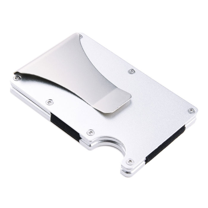 Aluminium Carbon Fiber Wallet - Geldbörse Wallet Kartenhalter Kreditkarte Geldscheinklammer - Silber